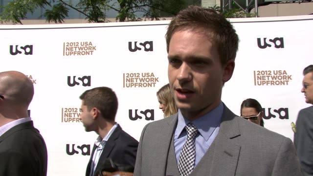 Patrick J Adams on the success of Suits on what to expect next season at 2012 USA Network Upfront Event at Alice Tully Hall Lincoln Center on May 17...