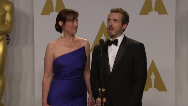 stockvideo's en b-roll-footage met speech patrick osborne and kristina reed at the 87th annual academy awards press room at dolby theatre on february 22 2015 in hollywood california - dolby theatre