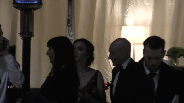 patrick stewart anjelica huston outside the vanity fair oscar party in beverly hills in celebrity sightings in los angeles - anjelica huston stock videos & royalty-free footage