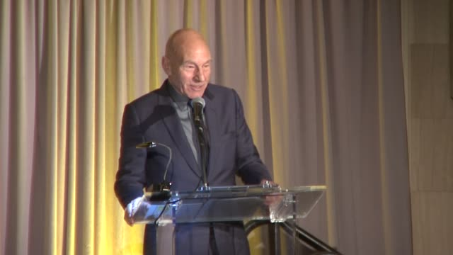speech patrick stewart on the importance of the international rescue committee at 2015 international rescue committee freedom award benefit at... - waldorf astoria new york stock videos & royalty-free footage