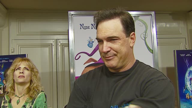 patrick warburten on his character in the film, on working on animated films, on the premise of the movie, on holiday plans at the 'happily n' ever... - patrick warburton stock videos & royalty-free footage