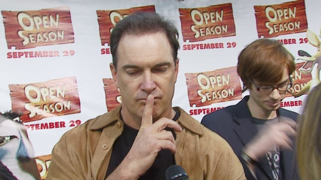 patrick warburton on how he prepared for the role of the 'bully' elk, how he would survive if he was stuck in the woods at the 'open season' premiere... - patrick warburton stock videos & royalty-free footage