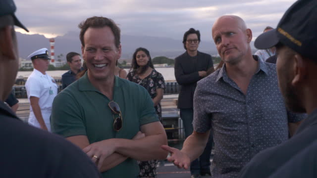 patrick wilson and woody harrelson at the midway special screening joint navy base pearl harbor hickam on october 20 2019 in honolulu hawaii - woody harrelson stock videos & royalty-free footage