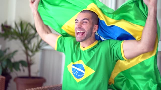 Patriotism and celebration of a Brazilian young fan