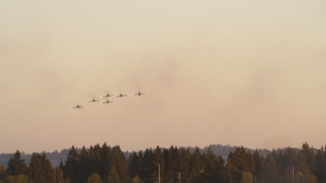 Patriots Jet Team approaching over trees and releasing smoke