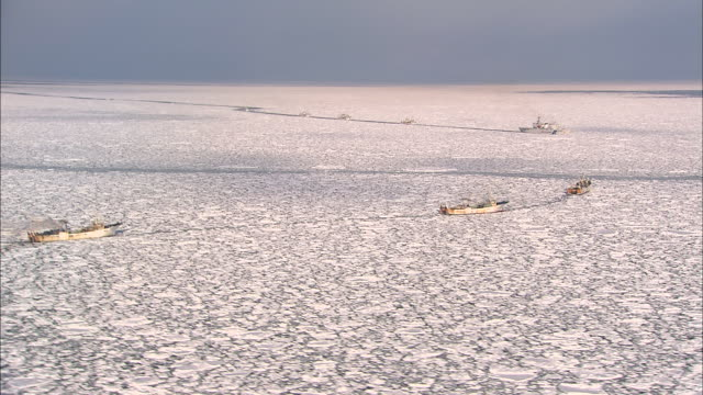 patrol boat attempts to salvage a fishing boat wedged between floating ice fields in japan. - bloccato video stock e b–roll
