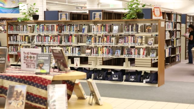 patrons browse books and use computers at the city of santa clarita public library valencia branch in santa clarita california us on sunday november... - santa clarita video stock e b–roll