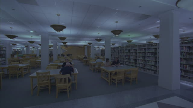 Patrons read in a library.
