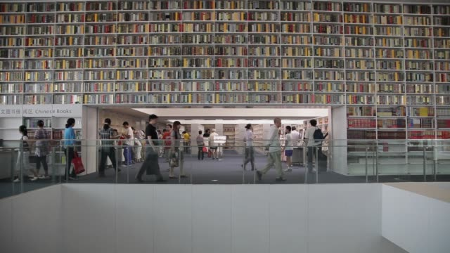 vídeos de stock, filmes e b-roll de patrons walk past stacks of books in the tianjin library. - esetante de livro