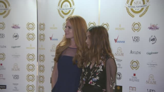 patsy palmer and emilia merkell at the 4th annual national film awards at porchester hall on march 28, 2018 in london, england. - ポーチェスター点の映像素材/bロール