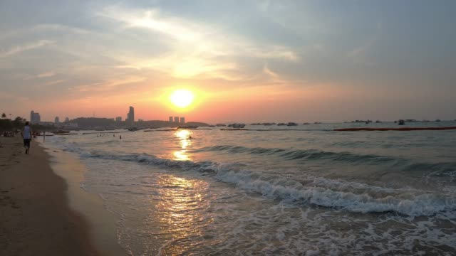 pattaya beach during at sunset. - pattaya stock videos & royalty-free footage