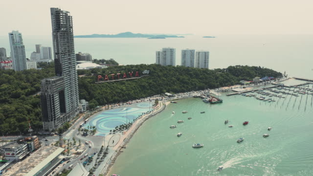 pattaya city sign at pattaya bay in the morning - pattaya stock videos & royalty-free footage