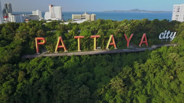 pattaya city sign famous landmark - pattaya stock videos & royalty-free footage