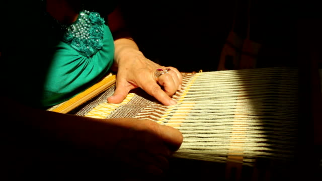 patterned material being woven on a loom - silk stock videos & royalty-free footage