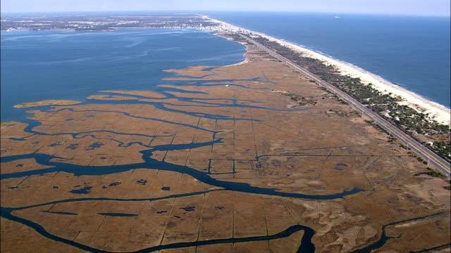 mönster i reed marsh - flygfoto - delaware, sussex county, usa - water's edge bildbanksvideor och videomaterial från bakom kulisserna