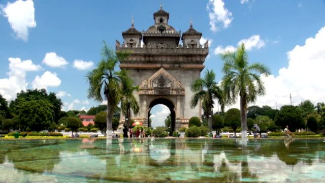 patuxai in vientiane - laos stock videos and b-roll footage