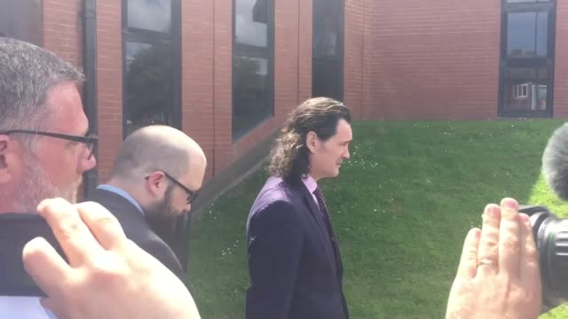 paul crowther in glasses leaves north tyneside magistrates' court without answering questions he was ordered to pay the brexit party leader... - south shields stock videos & royalty-free footage