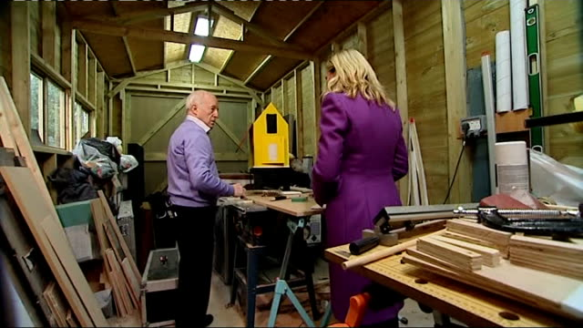 paul daniels severs finger whilst preparing stage show; berkshire: int close shot circular saw in workshop at home of paul daniels daniels using... - paul daniels stock videos & royalty-free footage
