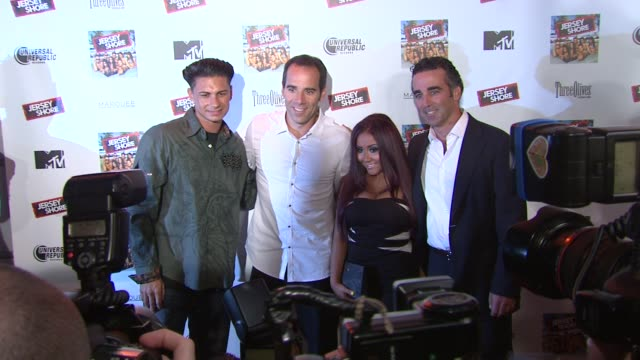 paul dj pauly d delvecchio monte lipman nicole snooki polizzi and avery lipman at the 'jersey shore' soundtrack release party at new york ny - soundtrack stock videos & royalty-free footage