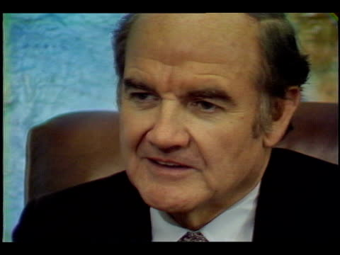 """paul duke interviewing us senator george mcgovern : """"as you look back, do you have any kind of real regrets? would you have done things differently?""""... - legislator stock videos & royalty-free footage"""