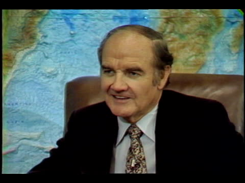 "paul duke interviewing us senator george mcgovern ""senator as you see your colleagues go out on the hustings and seek the presidency does it bring... - united states presidential election stock videos & royalty-free footage"