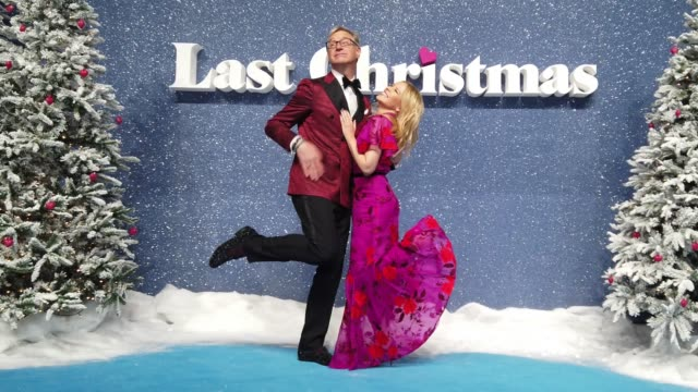 paul feig and kylie minogue attend the last christmas uk premiere at bfi southbank on november 11 2019 in london england - christmas stock videos & royalty-free footage