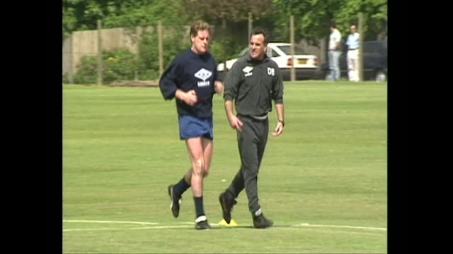 paul gascoigne at training session to determine fitness to play for s.s lazio fc 1992 - ラツィオ州点の映像素材/bロール