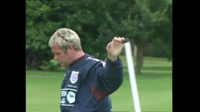 paul gascoigne during england team football training session, first session under new manager glenn hoddle 1996 - 1996 stock videos & royalty-free footage