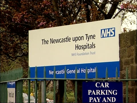 paul gascoigne in hospital with perforated stomach ulcer; england: newcastle: ext general views of newcastle general hospital and sign outside - ulcer stock videos & royalty-free footage