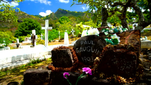 paul gauguin artist tomb atuona hiva oa marquesas - tahitian culture stock videos & royalty-free footage