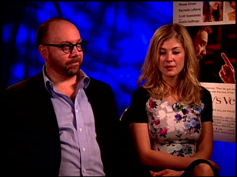 paul giamatti and rosamund pike on if he is a guy you can't stand or can't stand to be without at the 'barney's version' junket at los angeles ca - rosamund pike stock videos & royalty-free footage