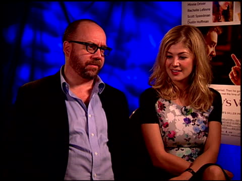 paul giamatti and rosamund pike on on both of them really spreading their wings in these roles at the 'barney's version' junket at los angeles ca - rosamund pike stock videos & royalty-free footage