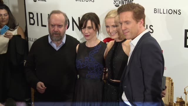 Paul Giamatti Maggie Siff Malin Akerman and Damian Lewis at Billions Series Premiere at Museum of Modern Art on January 07 2016 in New York City