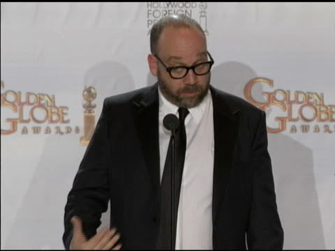 paul giamatti on dustin hoffman at the 68th annual golden globe awards press room at beverly hills ca - dustin hoffman video stock e b–roll