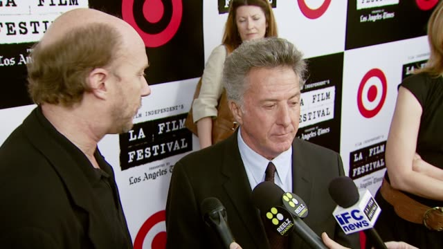 paul haggis and dustin hoffman at the spirit of independence award ceremony honoring clint eastwood at billy wilder theater in los angeles,... - independent feature project video stock e b–roll
