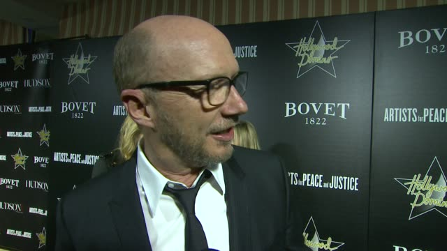 interview paul haggis on the event and on the competition at the event and on his academy award predictions at the 7th annual hollywood domino bovet... - paul haggis stock videos and b-roll footage