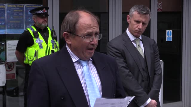 """paul hett, the father of martyn hett who died in the manchester arena bombing reads a statement saying the victims were """"failed on every level"""". it... - manchester arena stock videos & royalty-free footage"""