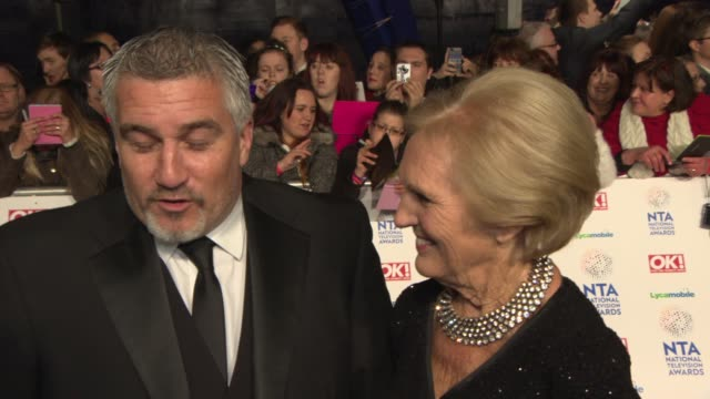 interview paul hollywood and mary berry on the great british bake off at national television awards at 02 arena on january 22 2014 in london england - television awards stock videos & royalty-free footage