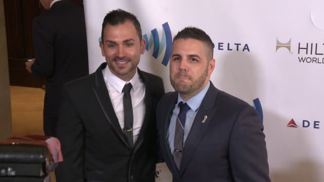 paul katami and jeff zarrillo at the 25th annual glaad media awards at the beverly hilton hotel on april 12 2014 in beverly hills california - the beverly hilton hotel stock-videos und b-roll-filmmaterial