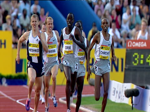 paul korir winning men's mile, 2004 crystal palace athletics grand prix, london - athleticism stock videos & royalty-free footage