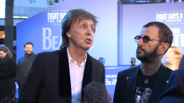 Paul McCartney and Ringo Starr saying at the premiere of the Beatles film 'Eight Days a Week' that the film only focuses on happy memories