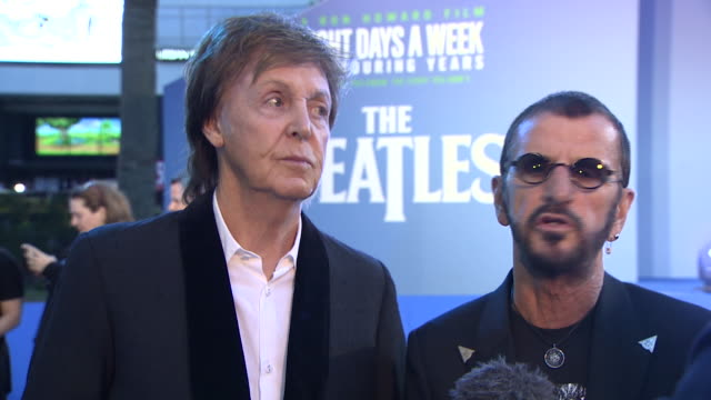 paul mccartney and ringo starr talking about the beatles final live performance on the roof of apple and how the beatles were a great little band - ringo starr stock videos and b-roll footage