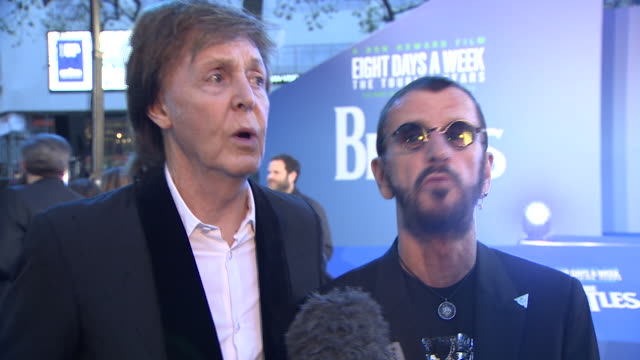 paul mccartney and ringo starr talking about their memories from the beatles years at the premiere of the film 'eight days a week' - ringo starr stock videos and b-roll footage