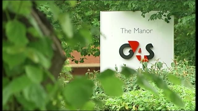 former g4s boss admits 'systemic failures' of staff vetting t12071310 / england west sussex crawley focus 'g4s' logo 'g4s the manor' on sign beyond... - inquest stock videos & royalty-free footage