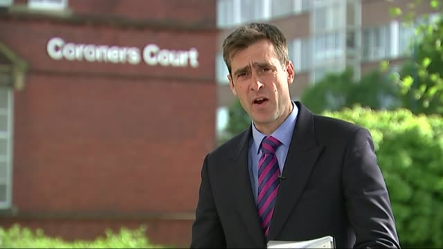 g4s criticised england stockport coroner's court ext reporter to camera reporter outside court with paul mcguigan's family corinne boydrussell... - inquest stock videos & royalty-free footage
