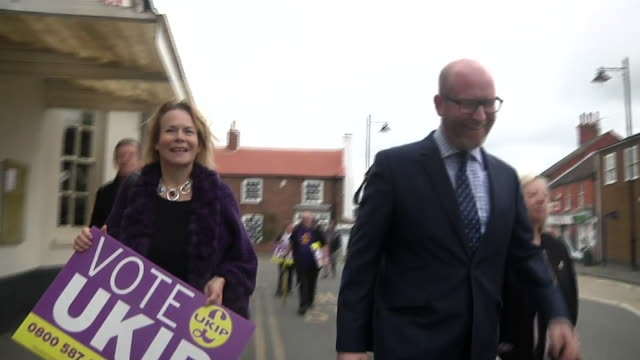 Paul Nuttall and UKIP campaigners in the streets of Burgh le Marsh Lincolnshire