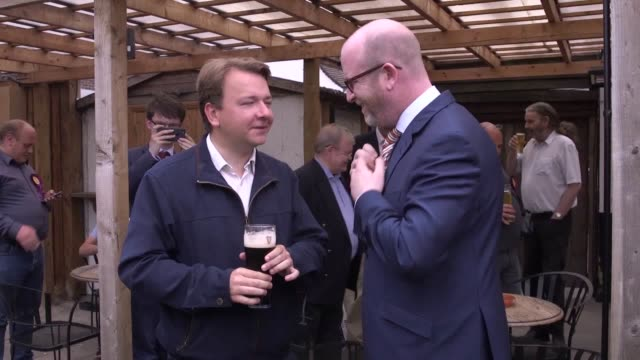 paul nuttall and ukip's thurrock candidate tim aker campaign visit to aveley high street in the thurrock constituency - thurrock stock videos and b-roll footage