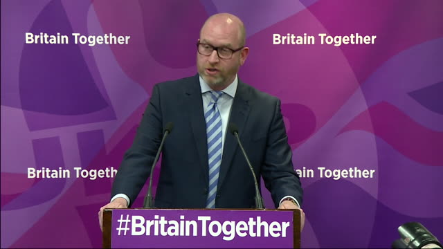 paul nuttall saying ukip's policy on immigration will be a balanced 'one inone out' policy - pult stock-videos und b-roll-filmmaterial