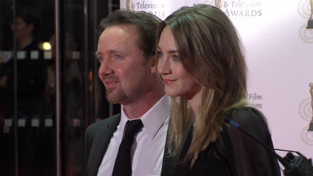 paul ronan and saoirse ronan at the the irish film & television awards at dublin . - irish film and television awards stock videos & royalty-free footage