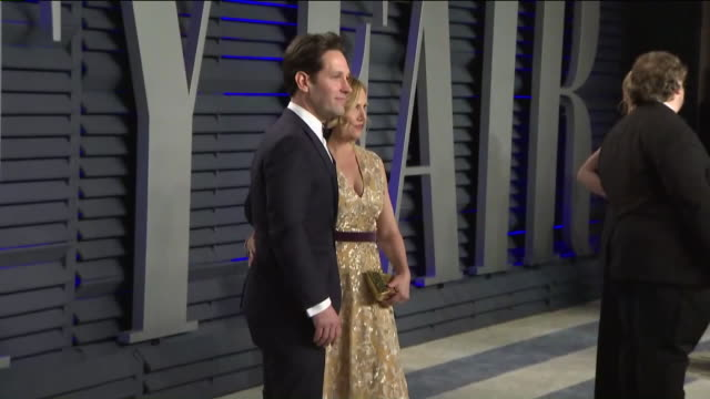 paul rudd and julie yaeger at vanity fair oscar party. - oscar party stock videos & royalty-free footage